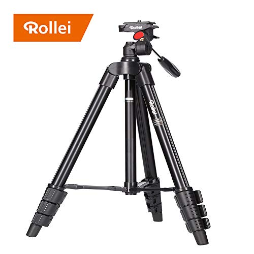 Rollei Compact Traveler Star S1 I ehemals DIGI 3400 I Videostativ aus Aluminium I bis 2kg Traglast I inkl. Stativkopf und Stativtasche I Schwarz