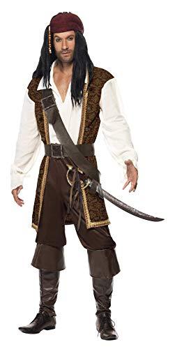 Smiffys 26224 Herren Hochsee-Pirat Kostüm, Oberteil, Kurze Hose, Bandelier, Gürtel und Kopftuch, M