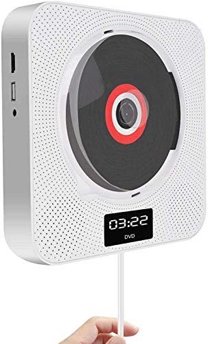 DVD Player Bluetooth Tragbar CD Player Wandmontierbar Kinder MP3 DVD/CD Player Radio mit LED Display, Timing-Funktion, Fernbedienung, HDMI, USB Steckdose, 3,5 mm Kopfhörerbuchse, Weiß