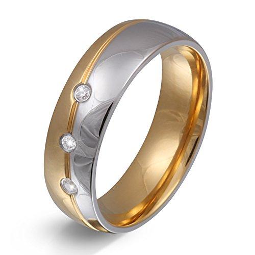 Juwelier Schönschmied - Unisex Partnerring Ehering Hochzeitsring Trauring Femar Edelstahl Zirkonia 60 (19.1) 168Dac