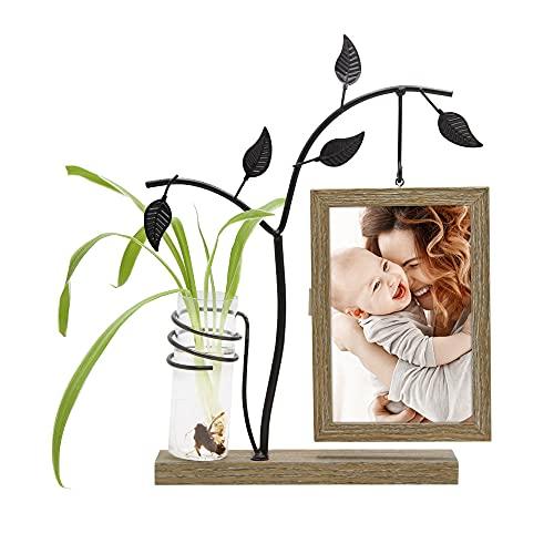 Afuly Holz Bilderrahmen 10x15 cm Doppelseitig Fotorahmen mit Metall Baum und Vase Natur Braun für 2 Fotos