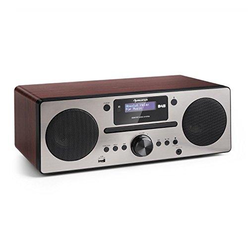 auna Harvard Stereo Kompaktanlage Special Edition,Microanlage mit DAB/DAB+ -Tuner, 2 x 10W RMS, Bluetooth 3.0, USB, Bluetooth, AUX, RDS-Informationen, Wecker, Impedanz: 4 Ohm, MDF, walnuss