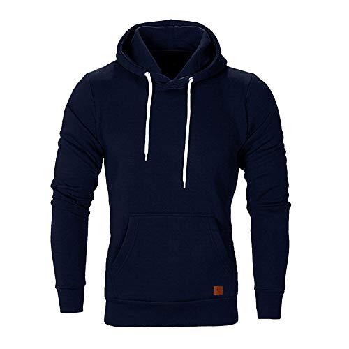 CHYU Herren Sweatshirt Kapuzenpullover Sweatjacke Pullover Hoodie Sweat Hoody Sweatshirt Herren Pullover (Dark Blue, Large)