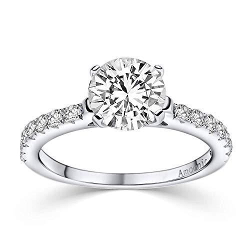 Verlobungsring Ring Damen Silber 925 von AMOONIC Zirkonia Stein mit GRAVUR & ETUI-BOX Silberring Frau Verlobungsringe Damenring rhodiniert Echt Schmuck Antragsring AM289 SS925ZIFAZIFA60