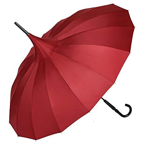 VON LILIENFELD Regenschirm Sonnenschirm Stabil Stockschirm Pagode Charlotte Bordeaux Burgunder