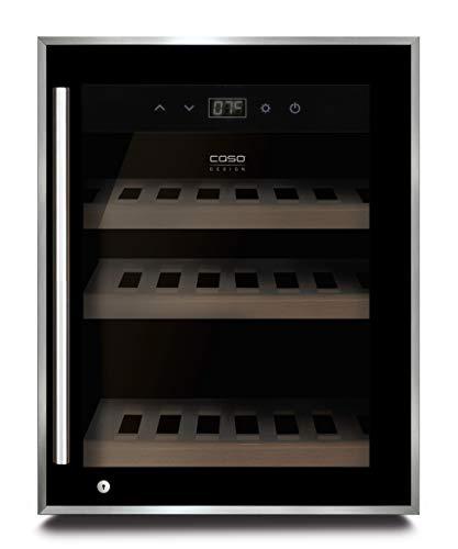 Caso Winesafe 12 Black - Design Weinkühlschrank für bis zu 12 Flaschen (bis zu 310 mm Höhe), eine Temperaturzone 5-20°C, Getränkekühlschrank, Energieklasse G