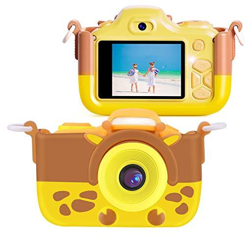 FishOaky Kamera Kinder, 12MP HD Fotoapparat Digitalkamera Kinder, Fotokamera Camcorder 2 Zoll LCD Bildschirm / 2 Objektive/Selfie / 4X Digitaler Zoom, Weihnachten Geschenk Spielzeug Kinder (Gelb)