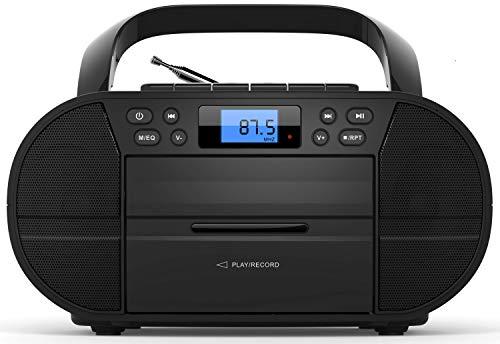 CD-Player mit Kassettendeck | Tragbares Stereo Radio | Kinder Radio | Stereo Radio | USB | CD/MP3 Player | Radio | Kopfhöreranschluss | Aux in | LCD-Display | (Memphis Black)