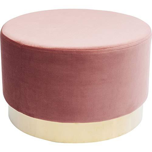 Kare Design Polsterhocker Cherry Brass, kleiner, moderner Design Hocker mit Samtbezug, rund, 55 cm, Rose-Messing (H/B/T) 35x55x55 cm
