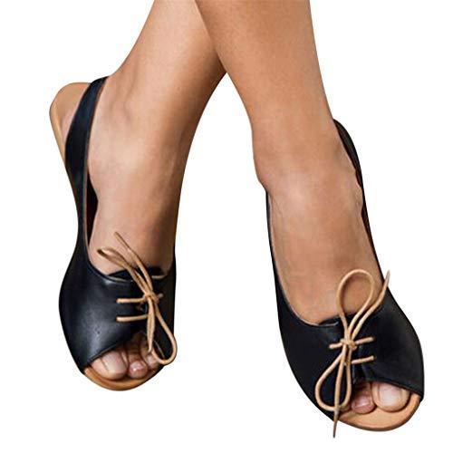 Übergroßer Sandalen für Damen/Dorical Frauen Sommer Retro-Peep-Toe-Sandalen mit seitlicher Abdeckung Damenschuhe Mode einfache PU-Leder Schuhe rutschfest 35-43 EU Ausverkauf (36 EU, Z13-Schwarz)
