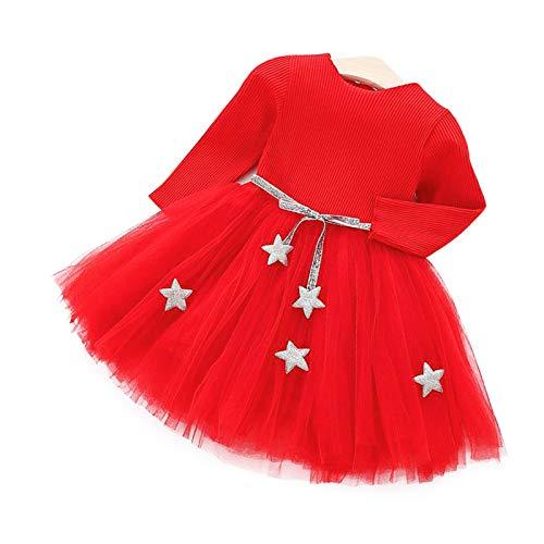 Baby Partykleid Langarm Strick Tutu Kleid Infant Princess Tüll Kleid mit Stern Bund Baumwollmischung Rock für Kinder(80-rot)