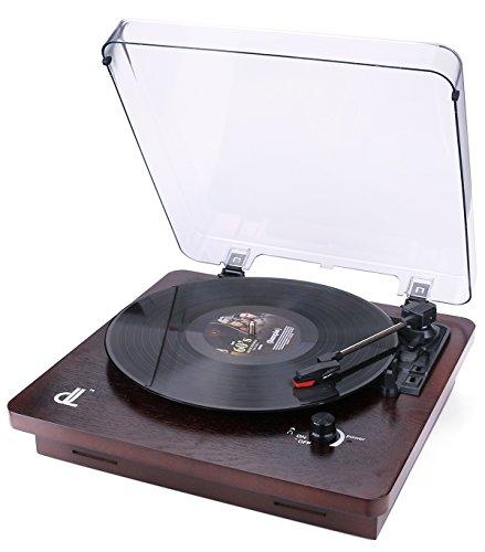 DL-Plattenspieler, mit Staubdichter Abdeckung, Vintage Turntable Walnut Wood 3 - Speed, Unterstützung PC-Codierung Cinch-Ausgang zu externem Lautsprecher, Aux In, Kopfhöreranschluss