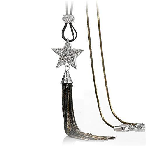 YAZILIND Damen Fransen Pullover Kette Halskette Einfache Fünf-Punkt-Stern Lange Quaste Halskette Persönlichkeit Wild Anhänger Kleidung Zubehör