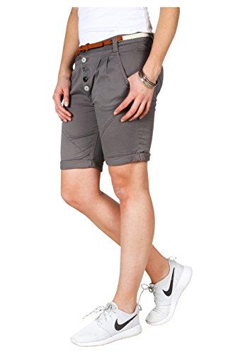 Sublevel Damen Chino Bermuda Shorts mit Knopfleiste Dark-Grey L