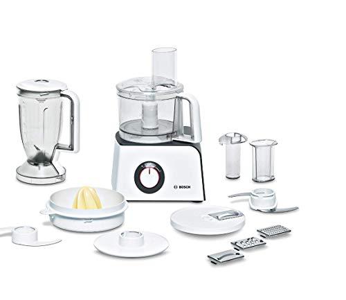Bosch Kompakt-Küchenmaschine MCM4 Styline MCM4100, 35 Funktionen, Rührschüssel 1kg Teig, Mixer 1,25 L, Universalmesser, schneiden und raspeln (fein,grob), Zitruspresse, Zubehörschublade, 800 W, weiß