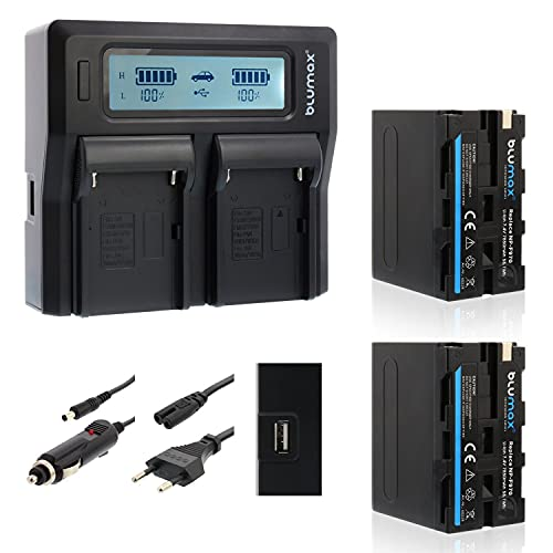 Blumax 2X Akku NP-F970 / NP-F960 LG Zellen 7850mAh + Doppelladegerät Dual Ladegerät | kompatibel mit Sony NP-F750 NP-F550 NP-F990 für Blitzgeräte Videoleuchten Fieldmonitore