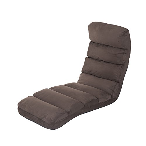 HOMCOM Lazy Sofa Schlafsessel Klappmatratze Faltmatratze verstellbar Braun 175x56x20cm