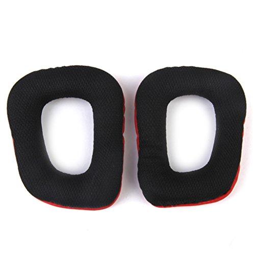 Paar Ohrpolster Kissen für Logitech G35 G930 G430 F450 Kopfhörer rot + schwarz