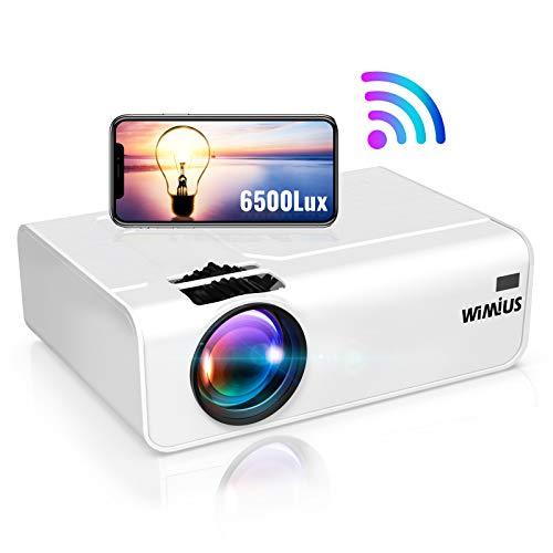 WiFi Beamer, WiMiUS 6500 LM Mini Tragbar Beamer Unterstützt 1080P Full HD Wireless 200 'Heimkino Beamer Kompatibel mit PC / Smartphone / TV Box /Fire Stick Projektor