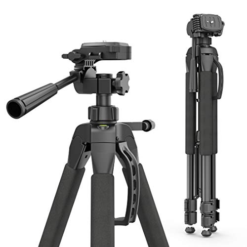 Hama Kamera Stativ Action 165 3D (Tripod mit 61–165cm Höhe, leichtes Fotostativ mit 3-Wege-Kopf, Dreibeinstativ mit Spikes, Kamerastativ passend für Canon Nikon Sony Olympus inkl. Tragetasche) schwarz