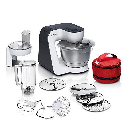 Bosch Küchenmaschine MUM5 StartLine MUM50E32DE, Edelstahl-Schüssel 3,9 L, Mixer 1,25 L, Planetenrührwerk, Knethaken, Schlag-, Rührbesen, Durchlaufschnitzler, 3 Scheiben, 800 W, weiß/schwarz