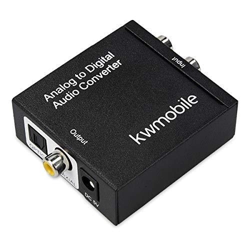 kwmobile Analog zu Digital Audio Konverter - Analog auf Digital Wandler - Klinke RCA Stecker zu 2X Ausgang Toslink/SPDIF Koaxial Cinch - Audiowandler