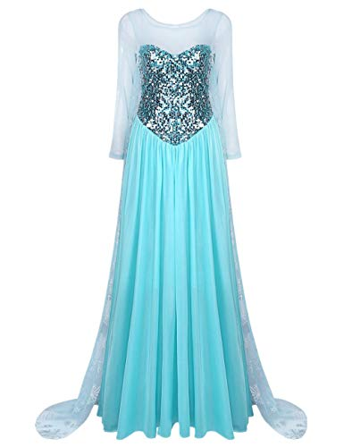 iiniim Damen Festlich Kleid Königin Prinzessin Kleid Langes Abendkleid Cosplay Fasching Karneval Verkleidung Party Kleid S-XXL Blau M