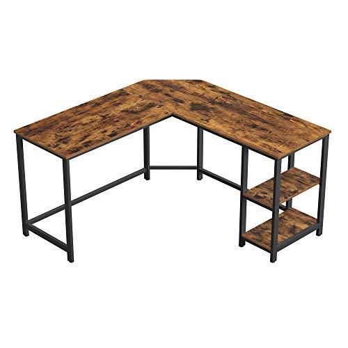 VASAGLE Schreibtisch, L-förmiger Computertisch, Eckschreibtisch mit 2 Ablagen, platzsparender Bürotisch im Industrie-Design, Gaming, einfacher Aufbau, vintagebraun-schwarz LWD72X