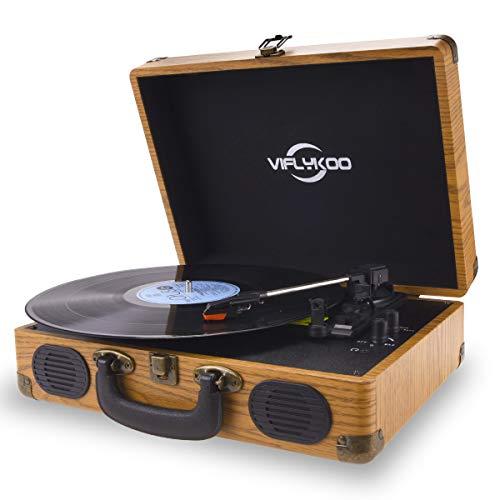 Plattenspieler, Plattenspieler Schallplattenspieler mit 3-Gang 33/45/78 U / min und Eingebauter 2 Stereo- Lautsprecher, Kopfhöreranschluss, USB, AUX-Eingang, RCA-Ausgang - Naturholz