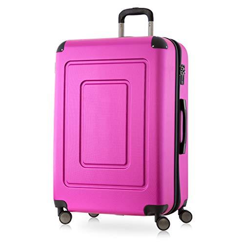 Happy Trolley - Lugano - Hochwertiger großer XL Koffer, Bruchfest, Hartschalen-Trolley, leicht, TSA Schloss, Volumenerweiterung, 4X leise Doppelrollen, Reisekoffer Trolley, 76cm, 113L, Pink