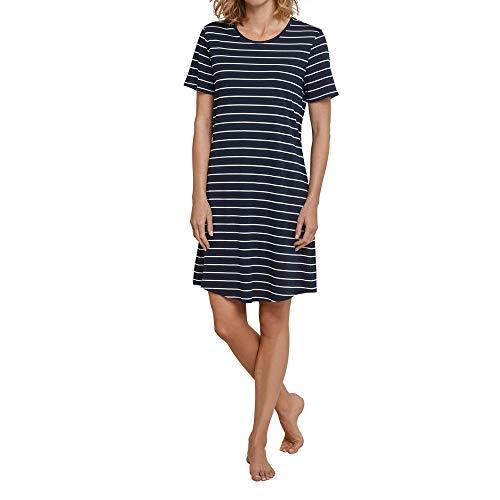 Schiesser Damen Negligee Sleepshirt 1/2 Arm, 90cm, Blau (Nachtblau 804), 46