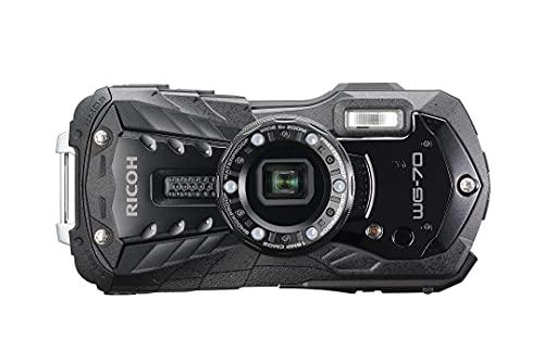 RICOH WG-70 wasserdichte Kamera Hochauflösende Bilder mit 16 MP Wasserdicht bis 14 m Stoßfest bis Fallhöhe von 1,6 m Unterwassermodus Ring mit 6-LEDs für Makroaufnahmen, Schwarz