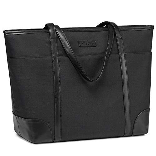 Laptop Handtasche Damen, VASCHY Groß 15.6-17 Zoll Notebooktasche Wasserabweisend Laptop Tasche Shopper Tote Bag Schultertasche Aktentasche für Arbeit Reise Lehrer mit Gepäckband-Schwarz