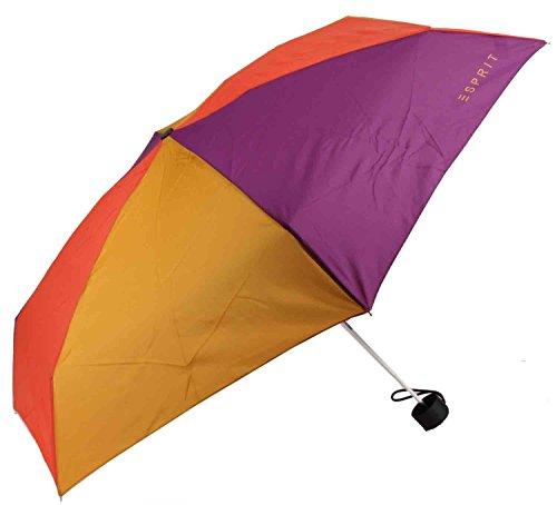 Esprit Petito safran berry combi 51948 Gelb-Lila-Petrol Regenschirm Taschenschirm Schirm