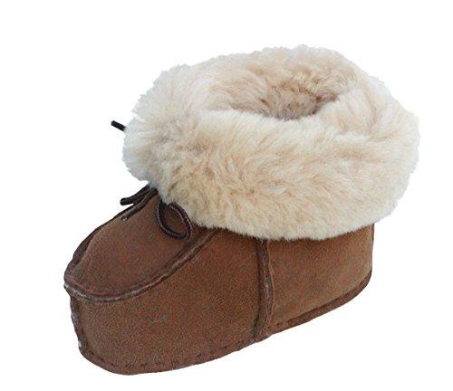 warme Lammfell Babyschuhe Camel mit Fellkragen und Kordel, Gerbung ohne schädliche Stoffe, Gr. 21-22