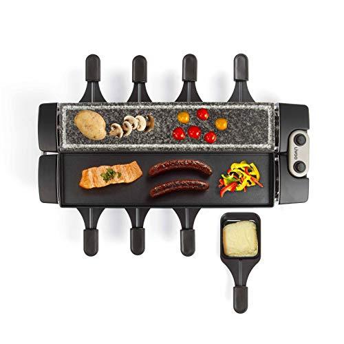 Raclette Grill 8 Personen Grillplatte Tischgrill Elektrisch Elektrogrill Heißer Stein (8 Pfännchen, 1280 Watt, Granitplatte, Drehbar, Party Grill)