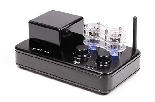 Dynavox Hybrid-Verstärker VR-400, Röhren mit LED-Beleuchtung, kompakte Stereo-Anlage mit USB, BT-Funktion zum Musik-Streaming von Smartphone, Tablet, PC
