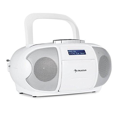 auna BeeBerry DAB Boombox - CD-Radio, Kassettenplayer, integrierter CD-Player, Kassettendeck, USB-Port, AUX-Eingang, CDs, CD-Rs und CD-RWs, MP3, Netz- / Batterie-Betrieb, weiß