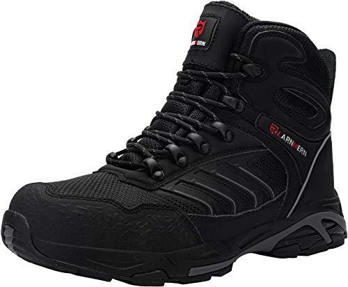 LARNMERN Sicherheitsschuhe Arbeitsschuhe Herren, Sicherheit Stahlkappe Stahlsohle Anti-Perforations Luftdurchlässige Schuhe (47 EU, Pures Schwarz)