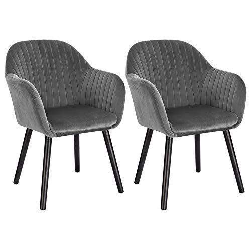 WOLTU Esszimmerstühle BH259dgr-2 2er Set Küchenstuhl Wohnzimmerstuhl Polsterstuhl Design Stuhl mit Armlehne, Sitzfläche aus Samt, Gestell aus Massivholz, Schwarze Beine, Dunkelgrau