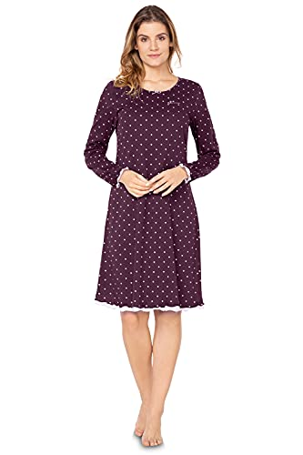 e.FEMME Damen Langarm Nachthemd Marion 333 aus Baumwolle mit Modal in der Farbe Bordeaux getupft in Größe 40