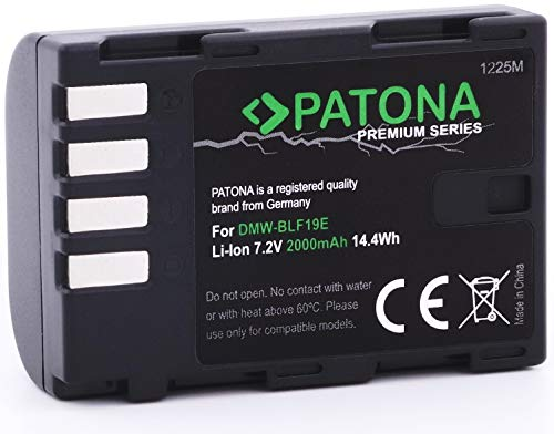 PATONA Premium Ersatz für Akku Panasonic DMW BLF19 E (echte 2000mAh) mit Infochip - kompatibel mit Lumix DC G9 GH5 DMC GH3 GH4 GH4R / Sigma BP-61 usw.