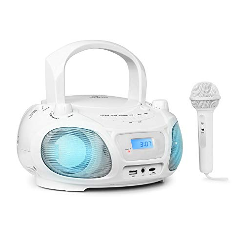 auna Roadie Sing - CD Player Kinder, Stereoanlage, Boombox, Sing-A-Long Funktion, Kinder CD Player mit USB-Port, UKW Radio, CD Player Kinder mit Mikrofon und Bluetooth 3.0, LED, Mikrofon, weiß