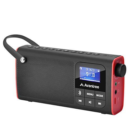 Avantree 3 in 1 Portable Tragbares FM Radio, Klein Mini Radio mit Bluetooth Lautsprecher, SD Card MP3 Player mit Akku, Auto Scan Save, LED Display, Batteriebetrieben - SP850