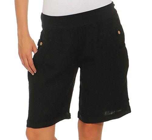 Mississhop 276 Damen Leinenshorts Bermuda lockere Kurze Hose Freizeithose 100% Leinen Shorts Elegante Haremshose mit Knöpfen Sommer Strand Graphit 2XL