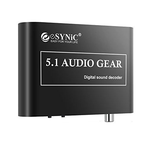 DAC Digitaler Audio-Decoder eSynic Audio Dekodierer mit analogen 5.1 Konverter DAC Konverter Unterstützt Dolby AC3 DTS Digitales Optisches Signal und Stereo-Audio (R/L) zum analogen Ausgang 5.1/2.1