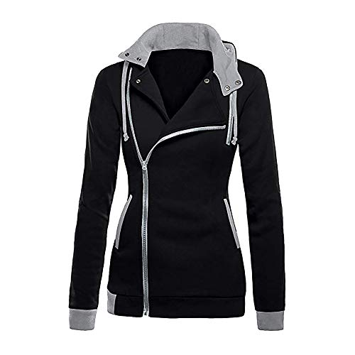 NPRADLA 2018 Herbst Winter Damen Sweatshirt Patchwork Mit Kapuze Oblique Reißverschluss Slim Fit Hoodie Jacke Langarm Bluse Mantel
