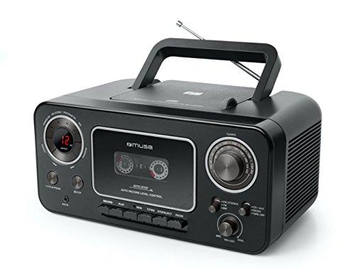 Muse M182RDC M-182 Stereo-Radio mit CD-Player und Kassetten-RecordermitAufnahme-Funktion,Batteriebetriebmöglich(UKWundMW-Tuner,AUX-Eingang,Teleskopantenne),schwarz