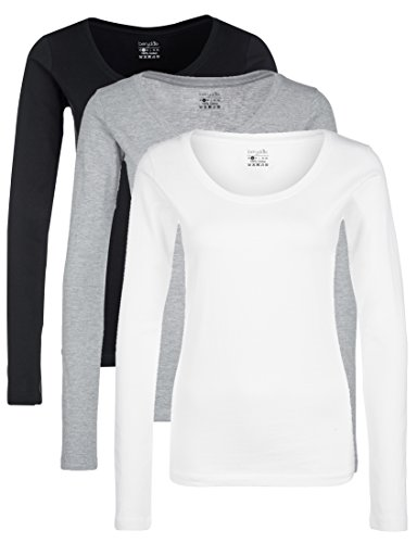 Berydale Damen für Sport & Freizeit, Rundhalsausschnitt Langarmshirt, 3er Pack, Mehrfarbig (Schwarz/Weiß/Grau), L