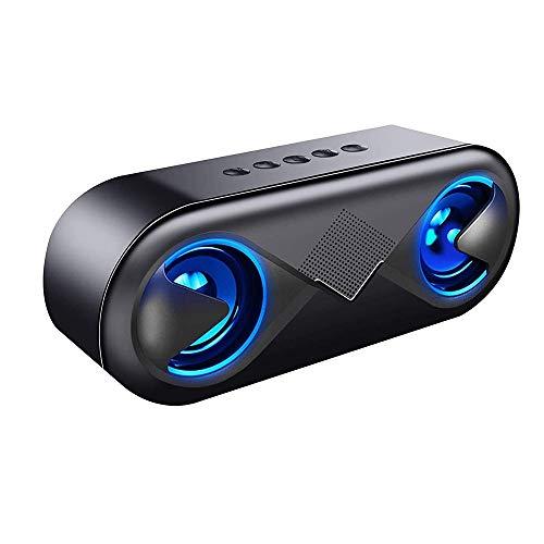 HBBOOI Bluetooth Lautsprecher, Wireless V5.0 LED Musikbox Bluetooth Mit Ausgeglichen Klang Und Starkem Bass, 24h Spielzeit Und 40m Reichweite, Eingebauten Mikrofon